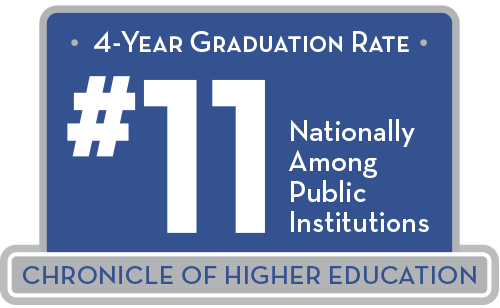 4-year graduation rate is number 11 nationally across public institutions, according to the Chronicle of Higher Education