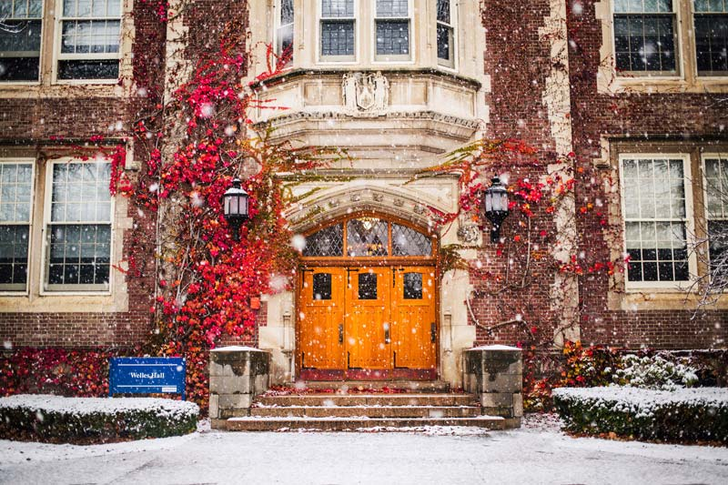 Welles Hall winter snow