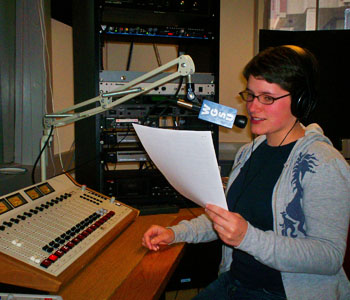 Student during radio broadcast