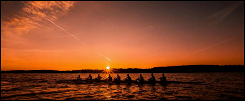 Geneseo Crew Club on the water at sunrise.