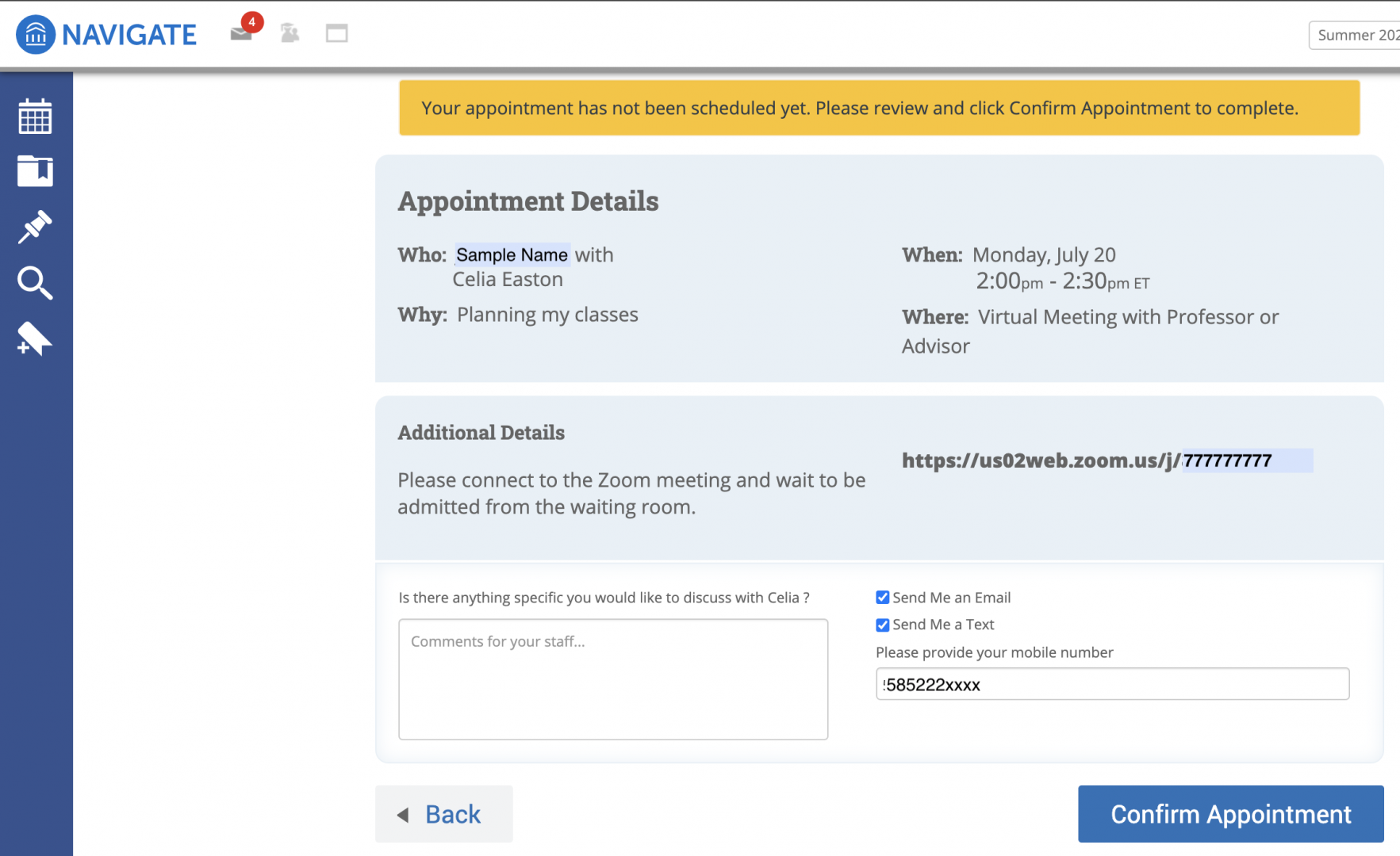Image of appointment confirmation for Navigate appointment with DAPA advisors.