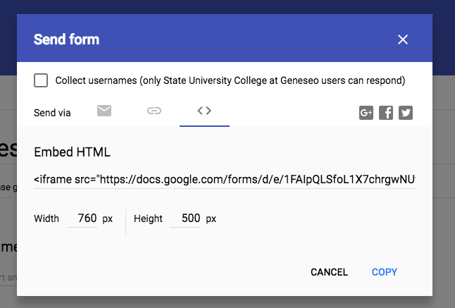 Get Embed HTML from Google Forms editor