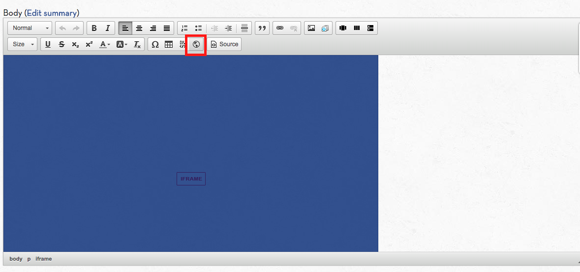 Edit the page, click on the iframe in the page, and push the iframe button in the editor