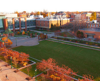 Up-high photo of the college green in fall.