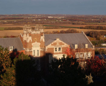 Up-high photo of Wells Hall, looking into the valley.