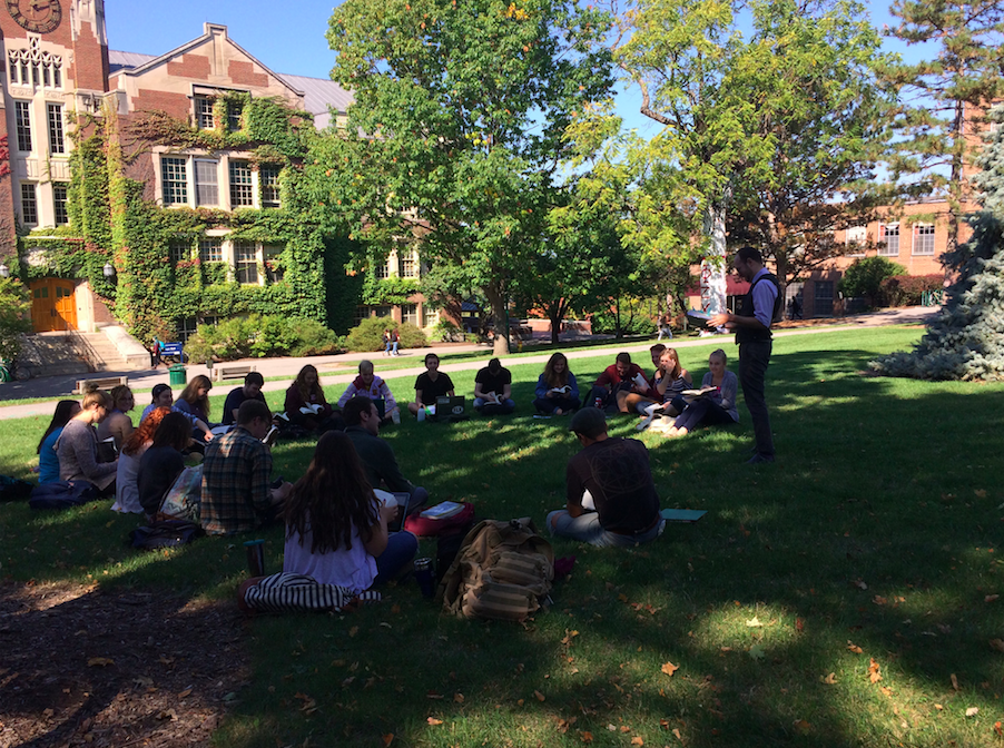 Professor Jones holda a class on Latin American history on Sturges Quad.