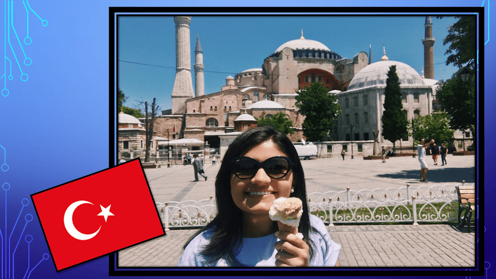 Selin E. in front of the Hagia Sofia in Istanbul, Turkey