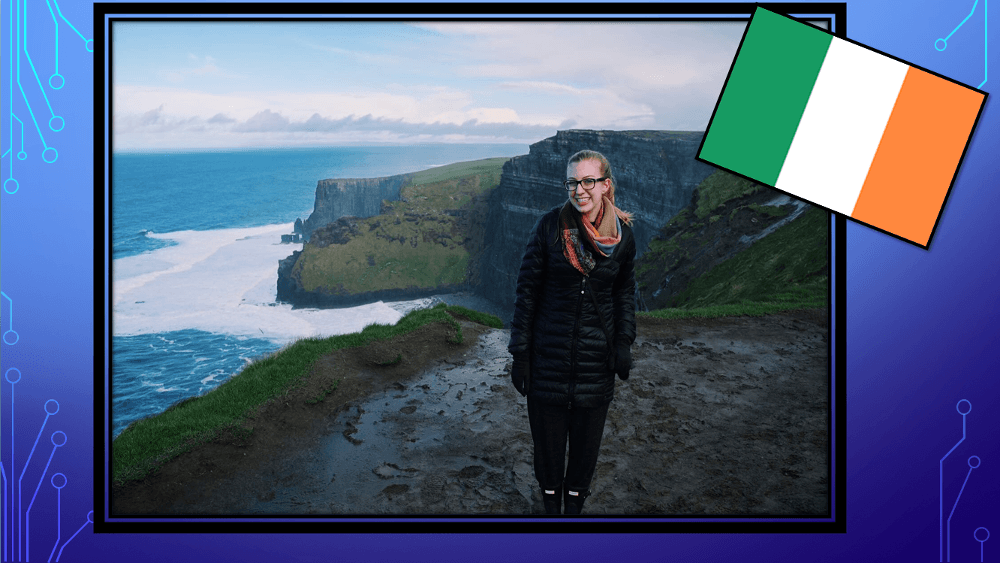 Sarah P. in the cliffs of Moher, Ireland.
