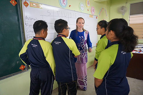 Kate Dunn '15 in Malaysian school