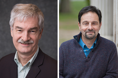 Distinguished Professor Robert Goeckel and Distinguished Service Professor Gerard Floriano '84