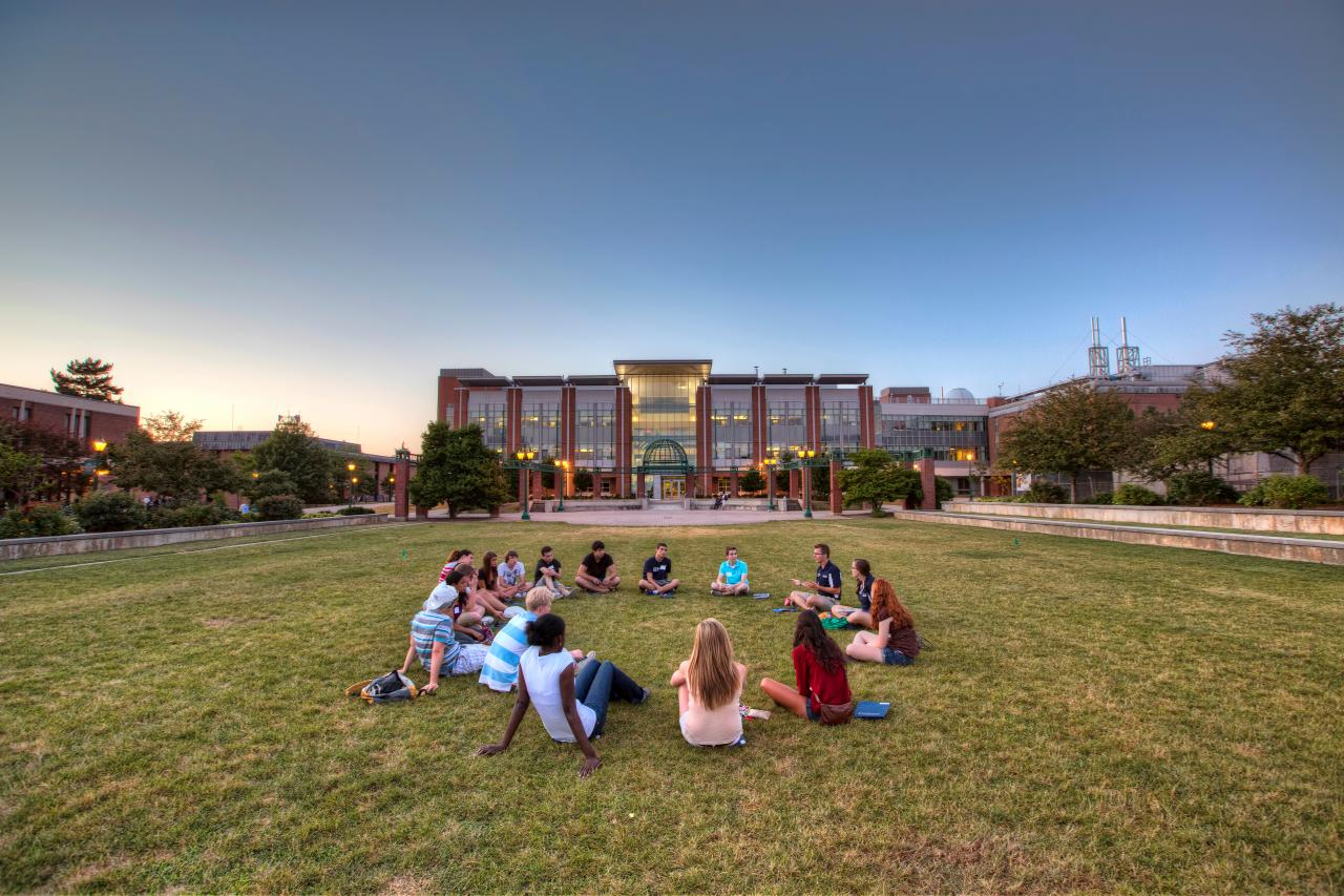 students sitting on the green