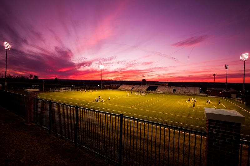 Geneseo Stadium at sunset.