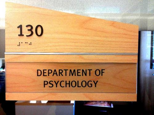 Door sign for Department of Psychology.