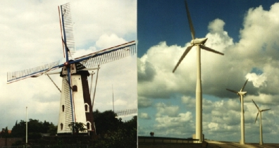 Old and new windmills coexist in The Netherlands