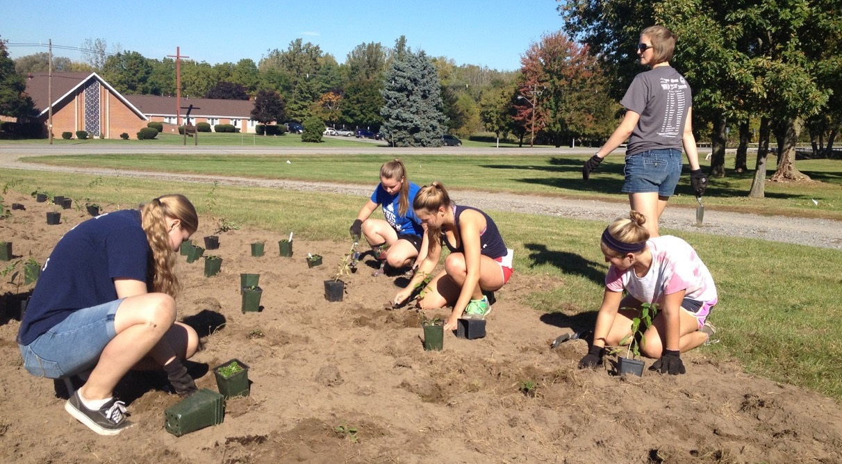 Students planting in the eGarden (energy garden) on campus