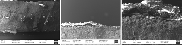 SEM images of lead acid plates after a complete discharge cycle.