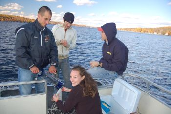 Group of students conducting research on Conesus Lake