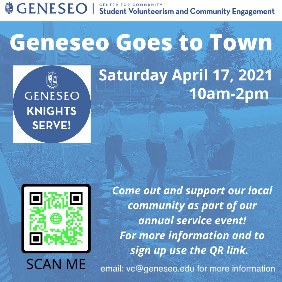 digital flyer with date and registration link for Geneseo Goes to Town