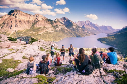 Students on geography field trip in Canadian Rockies
