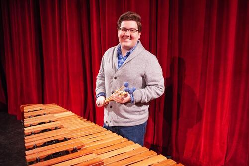 Austin Ainsworth with xylophone