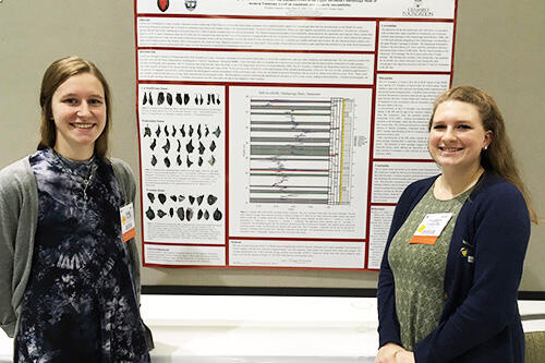Geological sciences students Emily Hauf (left) and Josephine Chiarello.