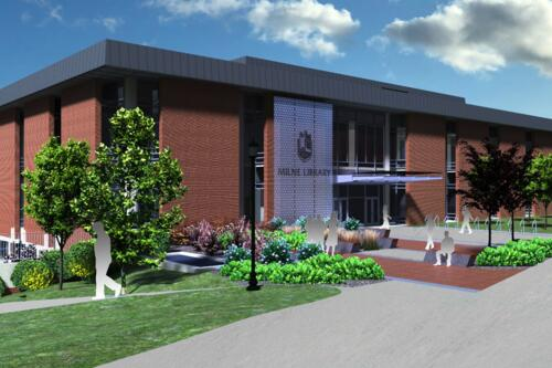 An illustration of what the outside of Milne Library will look like.