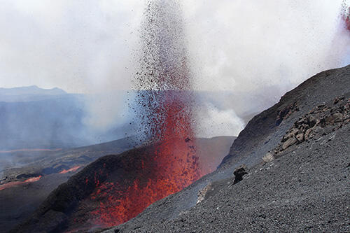 Photo of a volcanic eruption