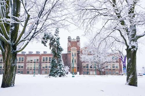 Sturges Hall in winter