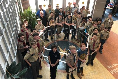 Boy Scouts in the Integrated Science Center as a group