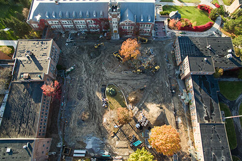 The Sturges Quad from above with the construction