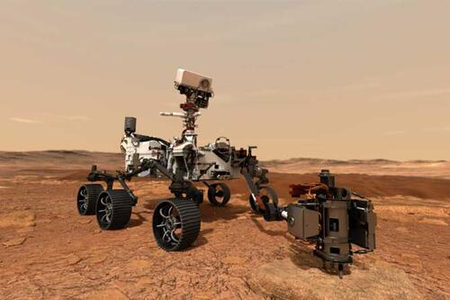 Mars 2020 rover uses its drill to core a rock sample on Mars