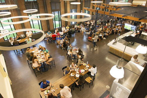 Students dine in the Red Jacket Dining Complex.
