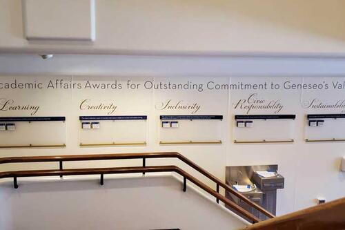 Erwin Hall display honoring Academic Affairs Award recipients