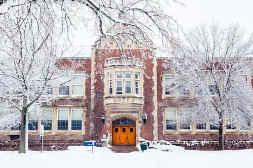 Welles Hall in winter