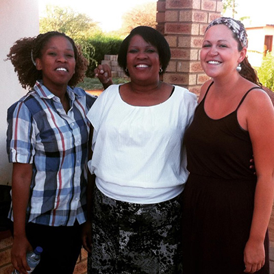 Meara with two women from her worksite
