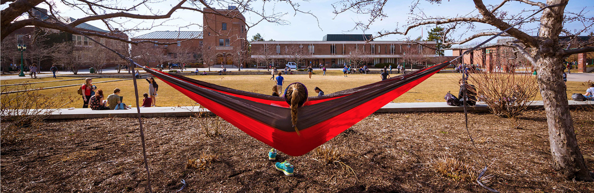 Student sitting on a hammock facing the Erwin building