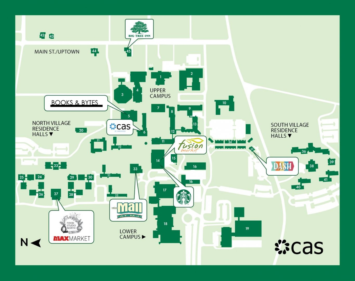 campus map of restaurants