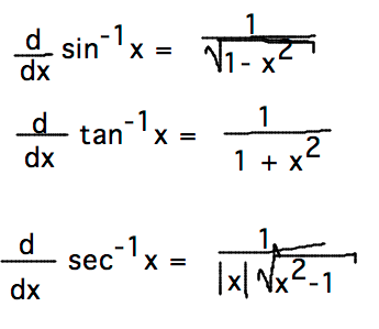 Geneseo math 222 01 inverse trig functions for Table of derivatives